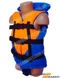 Страховочный жилет BARKAS 15-30 кг детский оранжево-синий