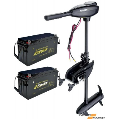 Электромотор FISHER 55 + 2 аккумулятора GEL 80Ah