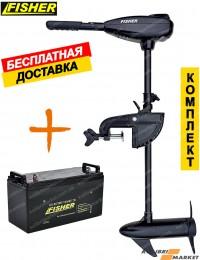 Электромотор FISHER 26 + аккумулятор GEL 80Ah